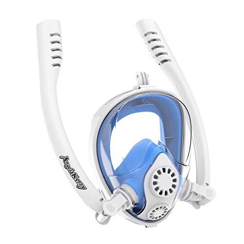 AngelaKerry Vollmaske Schnorchelmaske Tauchmaske Doppelröhrchen Vollgesichtsmaske mit 180° Sichtfeld, Dichtung aus Silikon Anti-Fog und Anti-Leck für Alle Erwachsene und Kinder (S/M, Weiß/blau
