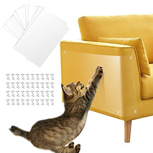 Pidsen Protector de Muebles Gatos, 8PCS Transparente Autoadhesivas contra Arañazos de Gato Protector con 40 Tornillos Rascador para Gatos y Perro, Protector de sofá para Detener