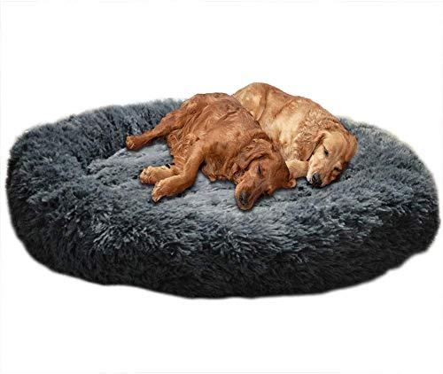 YWTT Cuccia per Cani di Grandi Dimensioni a Ciambella in Peluche, Morbido Cuscino Rotondo per Animali Domestici Deluxe, Letto calmante per Cani da Notte Migliorato per Cani di Taglia Media, Grand