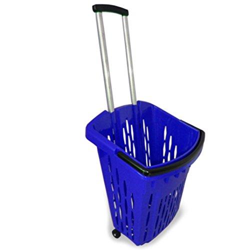 Einkaufstrolley Einkaufswagen Shopper 40 Liter verschiedene Farben Einkaufskorb mit Rollen (1, blau)