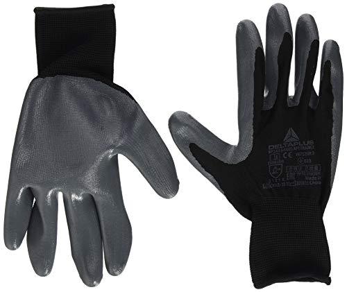 Delta Plus - Guante punto, poliester, palma nitrilo, negro/gris, talla 9, 1...