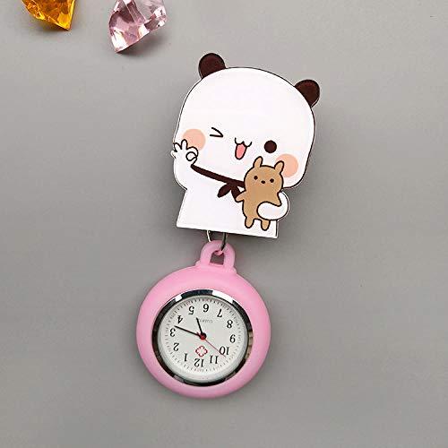 Cxypeng Reloj Broche Bolsillo Enfermeras,Mesa de Enfermera retráctil de Dibujos Animados, Reloj Colgante, Reloj de Bolsillo médico, Estuche Acolchado, Naranja,Enfermera Broche de Reloj
