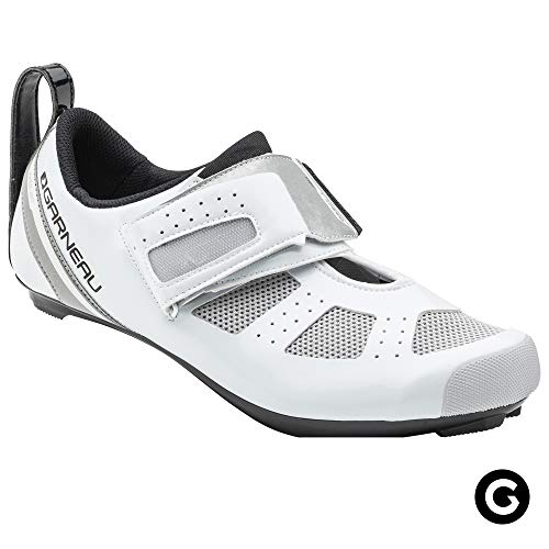 Louis Garneau, Men's Tri X-Speed III Triathlon Cycling Shoes for Racing and Indoor Biking, Compatible with Major Road and SPD Pedals, White/Drizzle, US (6), EU (39)