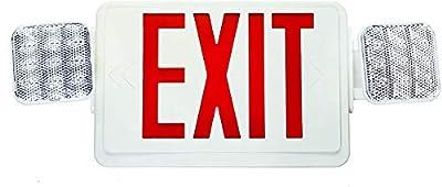 Double Sided LED Emergency EXIT Sign, Remote Capable, Two LED Flood Lights, Backup Battery, US Standard Red Letter Emergency Exit Lighting, Commercial Grade, 120-277V, Fire Resistant (UL 94V-0)