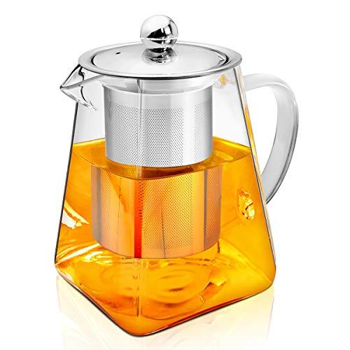 AckMond 500ml in Vetro Trasparente teiera con infusore in Acciaio Inox e Coperchio in Vetro borosilicato, teiere, 500 ml