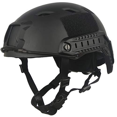 LOOGU Airsoft Helm Fast BJ Militärhelm Ops Core Schwarz Helm mit Kopftuch Taktischer Schutzhelm für Paintball Freizeit Outdoor Tactical Jagd Top Helmet