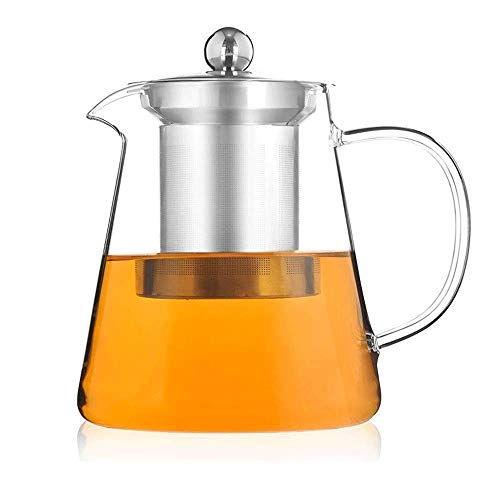 WYZQ Tea Pots,Glass Tea Pots,Stainless Steel Infuser Perfect for Tea, Glass Teapot with Infuser Tea Pot, Tea Kettle Stovetop Safe Blooming and Loose Leaf Tea Maker Home Kitchen