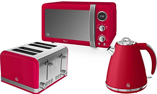 Retro Kitchen Pack by Swan - Digital Microwave 800w 20L, Jug Kettle 1.5L and 4 Slice Toaster - 3 Appliances for A Modern Kitchen Design (Red)
