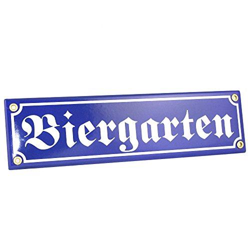 Bavariashop Emaille-Schild Biergarten, Straßenschildoptik, Blau Weiß, Dekoration für Haus, Garten, Partykeller