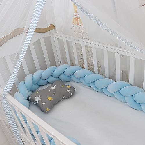 Ipobo Crib Bumper Kinderbett Stoßstange bettschlange geflochten Bett Stoßstange Kissen 3m Krippe Seiten Schutz Bettumrandung Weben Geflochtene Stoßfänger Dekoration(Blau, 300cm)