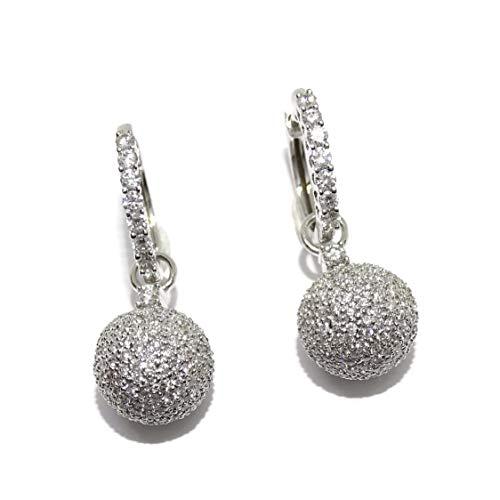 Impresionantes pendientes de 2.11cts de diamantes en oro blanco de 18k. Aros con bola desmontable, 2 en 1!
