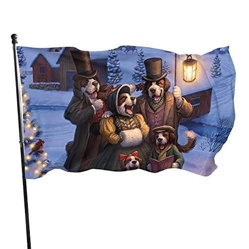 Banderas para jardín Navidad perros cantan invierno arte divertido Bandera Grande de balcón para Exterior Reforzada y con 2 Ojales metálicos 90x150cm