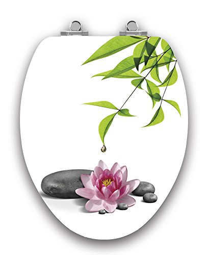 TOPSEAT Art of Acryl Elongated Toilet Seat w/Slow Close Chromed Metal Hinges, Wood, Water Lily