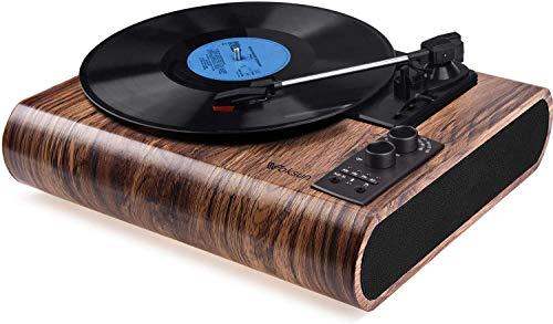 Tocadiscos de Vinilo,VOKSUN Tocadiscos Bluetooth y codificador Digital con 3 velocidades 33/45/78 RPM incorporadas 2 Altavoces estéreo Aux-In RCA, diseño de Estuche(Madera)