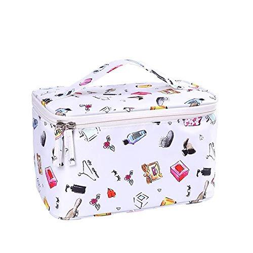 QFERW Trousse à Maquillage pour Femmes Sac à cosmétiques Portable Voyage Pliable Étanche Maquillage Sacs Zipper Wash Bag Beauté Affaire Organisateurs, Blanc