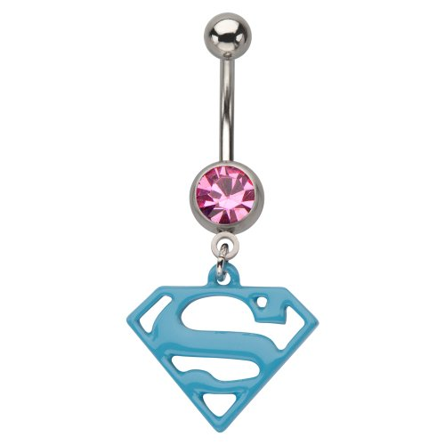 Belly Button Rings 316L, Dangle, Gem, Press Fit, Superman, Navel Ring