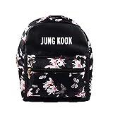 ZIGJOY Kpop BTS Flower Pattern PU Zaino Zaino Donna Bangtan Borsa a tracolla Suga Jin Jimin Jung Kook per gli appassionati JUNGKOOK
