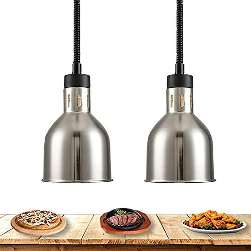 WOERD Calentador de Alimentos, Lámpara de Calentamiento de Alimentos, Altura Ajustable 75-165cm, Lámpara de Calor de Alimentos Acero Inoxidable con Bombilla 250W para Cocina y Restaurantes