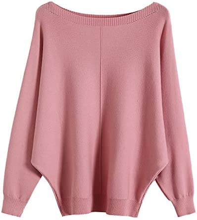 GABERLY Boat Neck Batwing Sleeves Dolman Knitted Sweaters and Pullovers Blouse for Women Pink product image