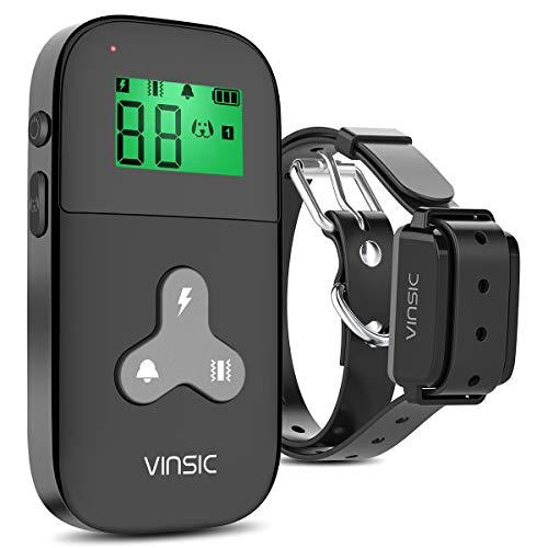 VINSIC Collier Dressage Chien, Colier Anti aboiment pour Chien avec Télécommande et Ecran LCD (5 niveux de Vibration + Choc Electrique + Bip Sonore)