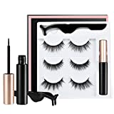 Onkessy Magnetic Eyeliner and Lashes Kit With Tweezers Inside,3Pairs Of 3D Magnetic Eyeliner Liquid False Eyelashes Set,Eyelashes with Eyeliner- NO Glue Needed