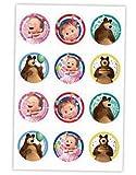 Masha y el Oso - Decoración para Galletas Infantiles - Pasta de Azúcar - 12 Mini Discos - 6cm