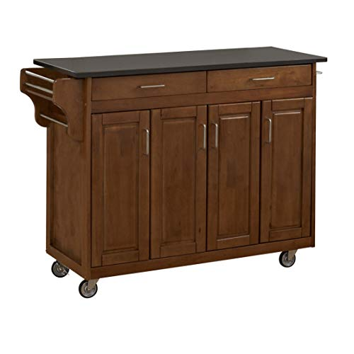 Home Styles Create-a-Cart Cottage Oak Four Door Cabinet Kitchen Cart with Black Granite Top, Adjustable Shelves, Spice Rack, Towel Bar, and Locking Caster Wheels