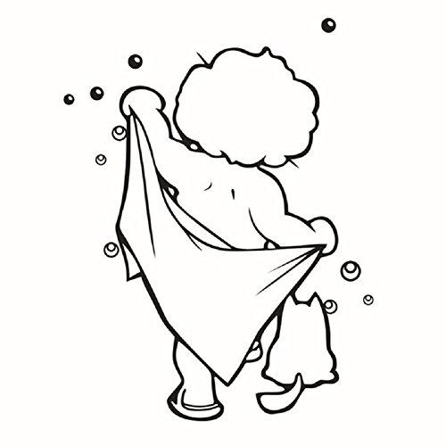 dosige 1 Pcs Lindo Funny bébé amour douche Stickers muraux a preuve d'eau autocollants de verre de la porte de bain enfants amovibles enfants étiquette engomada de la douche de bain (couleur : noir)