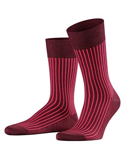 FALKE Men Oxford Stripe Socks - Cotton Blend, Red (Barolo 8596), UK 8.5-9.5 (Manufacturer size: 43-44), 1 Pair