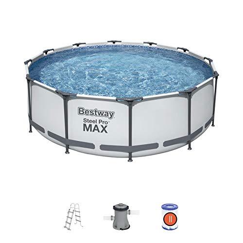 BESTWAY 56418D - Piscina Desmontable Tubular Steel Pro Max 366 x 100 cm, con Depuradora Cartucho 2.006 L/H y Escalera