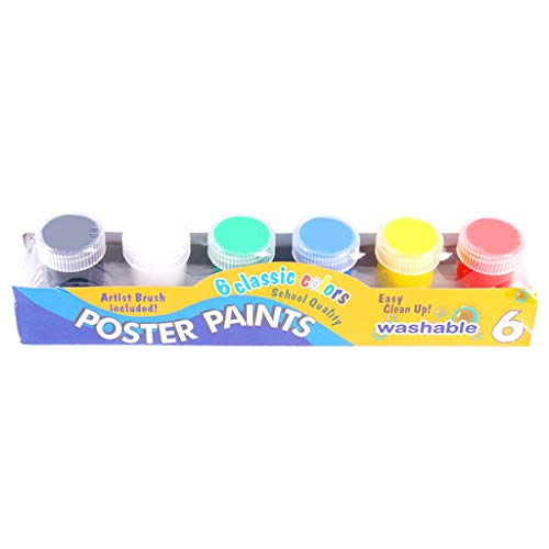 RROVE 20ml Pintura para Dedos 6 Colores Brillantes Pintura Lavable para Gouache para niños Escuela Pintura para Dedos