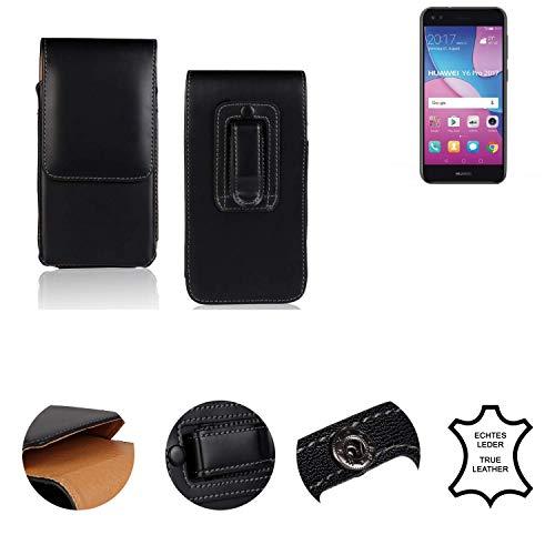 K-S-Trade® Holster Gürtel Tasche Für Huawei Y6 Pro 2017 Dual SIM Handy Hülle Leder Schwarz, 1x