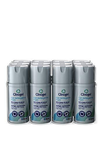 Clinogel Gel Mani Igienizzante con Estratti di Timo e Glicerina Naturale, Uso senza Acqua, 12 Flaconi da 100 ml