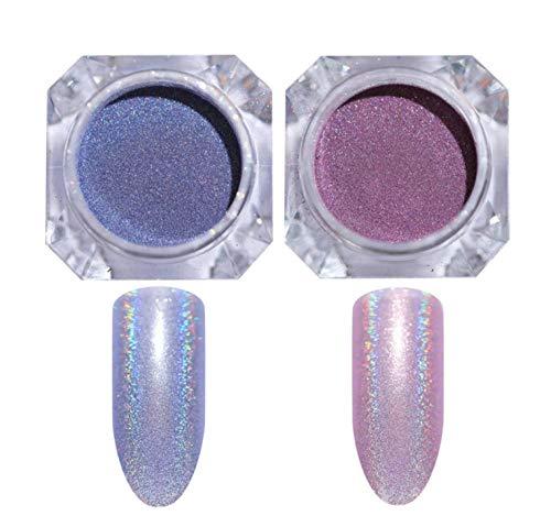 2pcs poudre à ongles Nail Art Glitter Shimmer Pigment DIY Design Accessoires Corps paillettes pour Cheveux Visage Yeux Mousseux Maquillage Nail Art Décoration @A