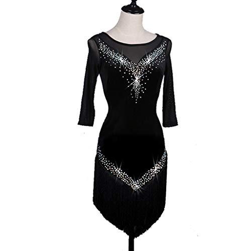 Profesional Con Flecos Latin Dance Performance Competencia Vestido Disfraz Rhinestone Latin Dance Falda Chica Adulta (Color : Black, Size : L)