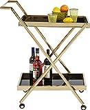 Kare Design Servierwagen Casino gold, edler Servierwagen, modern, Beistelltisch auf Rollen, Küchenwagen, Rollwagen, Transportwagen, (H/B/T) 89x76x50cm