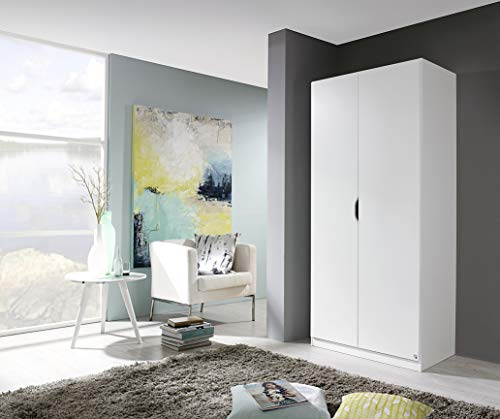 Rauch Möbel Freising Schrank Kleiderschrank Drehtürenschrank, 2-türig, in Weiß, inkl. Zubehörpaket Basic 1 Einlegeboden 1 Kleiderstange, BxHxT 91x197x54 cm
