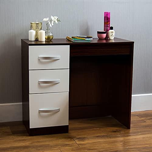 Amazon Brand - Movian Hulio High Gloss 3 Drawer Dressing Table, White and Walnut, 79 x 93 x 38 cm