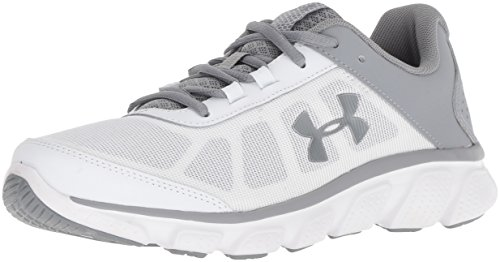 Under Armour Women's Micro G Assert 7 Running Shoe, White (104)/Steel, 6