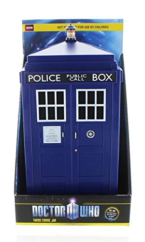 Doctor Who Tardis Cookie Jar with Light & Sound Effects - Activated by Pushing Lamp Or Closing Lid - Fun, Unique Home Or Office Kitchen Decor - Collectible Blue Police Box Time Machine Container