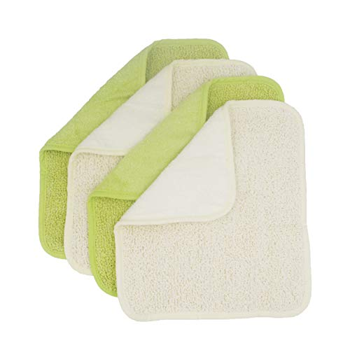 TTYBG Natural Organic Bamboo&Cotton Dual Sided Antibacterial Washcloths Hand Towels Ultra Soft For Shower Bath Spa, Gentle For Body Face Sensitive Baby Skin, Pack of 4(Green&White)