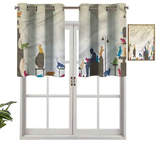 Hiiiman Cenefas de cortina con ojales para ventana, diseño de gato loco, 1 unidad, 127 x 45 cm para ventana de cocina