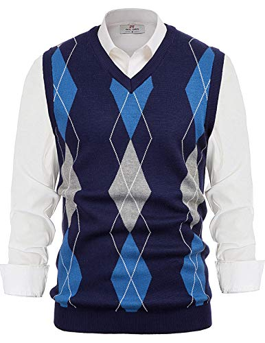 PJ PAUL JONES Mens Argyle Sweater Vest V Neck Knitted Sleeveless Pullover Vest Navy Blue 2XL