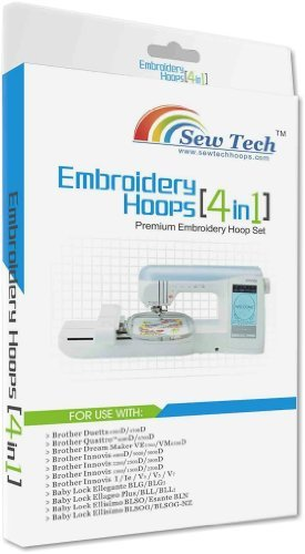 Sew Tech 4 in 1 Hoop & Grid Set for Brother Machines Duetta 4500d, 4700d Quattro 6000d, 6700d Dream Maker Ve2200, Vm6200d Innovis 1500, 1500d, 2200d, 2500d, 2800d & Baby Lock Brand Embroidery Machines: Ellegante Blg, Blg2 Ellageo Plus, Bll, Bll2 Ellisimo Blso, Blsog, Blsog-nz Esante Bln: Replaces Sa437, Sa438, Sa439 & Sa441