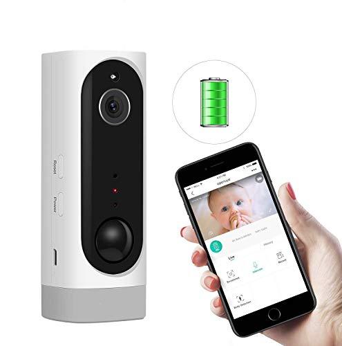 Openuye Cámara de seguridad, IP recargable 720P con batería incorporada y detección de movimiento PIR, visión nocturna, LED de infrarrojos, audio bidireccional, admite tarjeta TF de 128GB(no incluida)