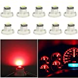 WLJH 10x Red T4.2 Neo Wedge 3030 Chipest 10mm Base Led Car Instrument Cluster Led Bulb Dashboard Gauge Bulb HVAC AC Heater Climate Controls Lamps Radio Switch Indication Interior Light Replacement
