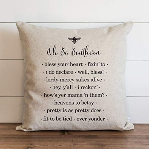 Oh So Southern Pillow Cover Everyday Throw Pillow Gift Accent Pillow Cushion Cover Case Pillowcase with Hidden Zipper Closure for Sofa Bench Bed Home Decor 18 x 18 Inches
