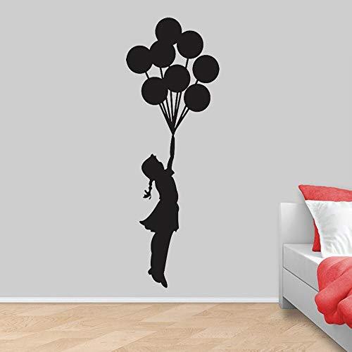 JXMK Muursticker voor meisjes, vinyl, drijvende ballon, voor meisjes, kinderkamer, meisjes, romantische ballon, muurtattoo, kunstenaars, huisdecoratie