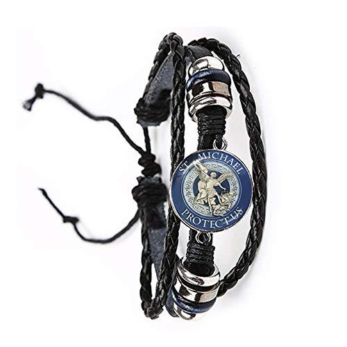 Inveroo Glas Cabochon Armband Erzengel St.Michael Schützen Sie Mich Saint Shield Schutz Charme Russische Orhodoxe Leder Armreif Für Heilige