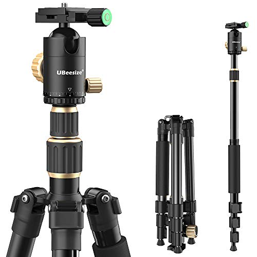 """UBeesize 71"""" Tripod for Camera, Portable Aluminum Travel Tripod Stand with 360 Degree Ball Head, 12KG/26.4LBS Load for DSLR, Canon, Nikon, Sony, Projector, Binocular, iPad, Phone and More"""